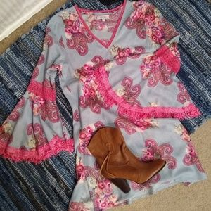 Velzera Boho Bell Sleeve Floral Paisley Dress